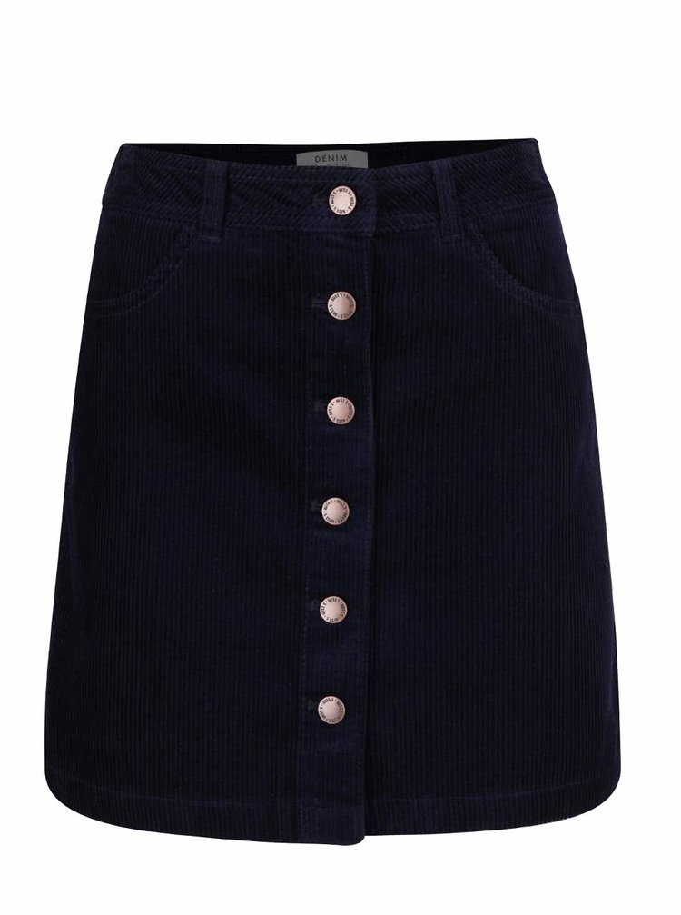 Tmavě modrá manšestrová propínací sukně Miss Selfridge