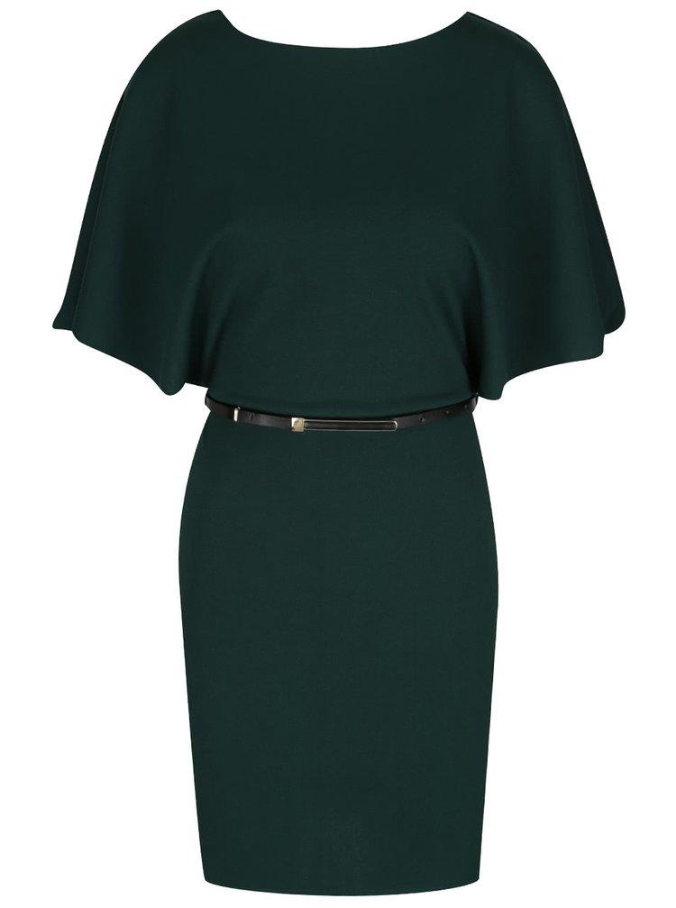 Tmavě zelené šaty s netopýřími rukávy a páskem Miss Selfridge