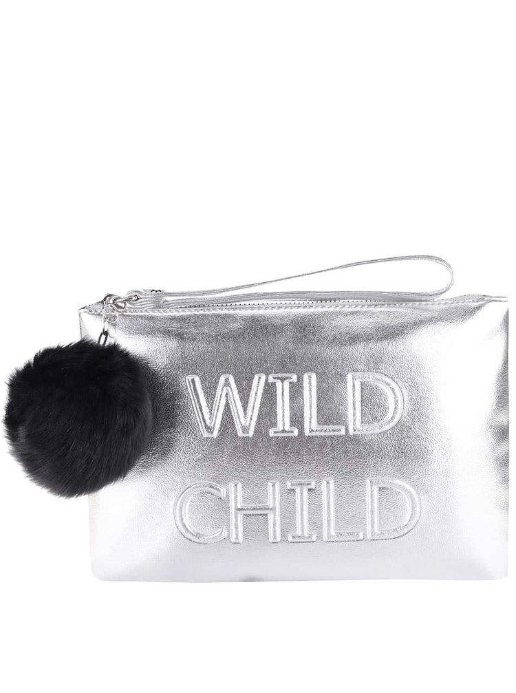 Listová kabelka v striebornej farbe s príveskom v tvare gule Miss Selfridge
