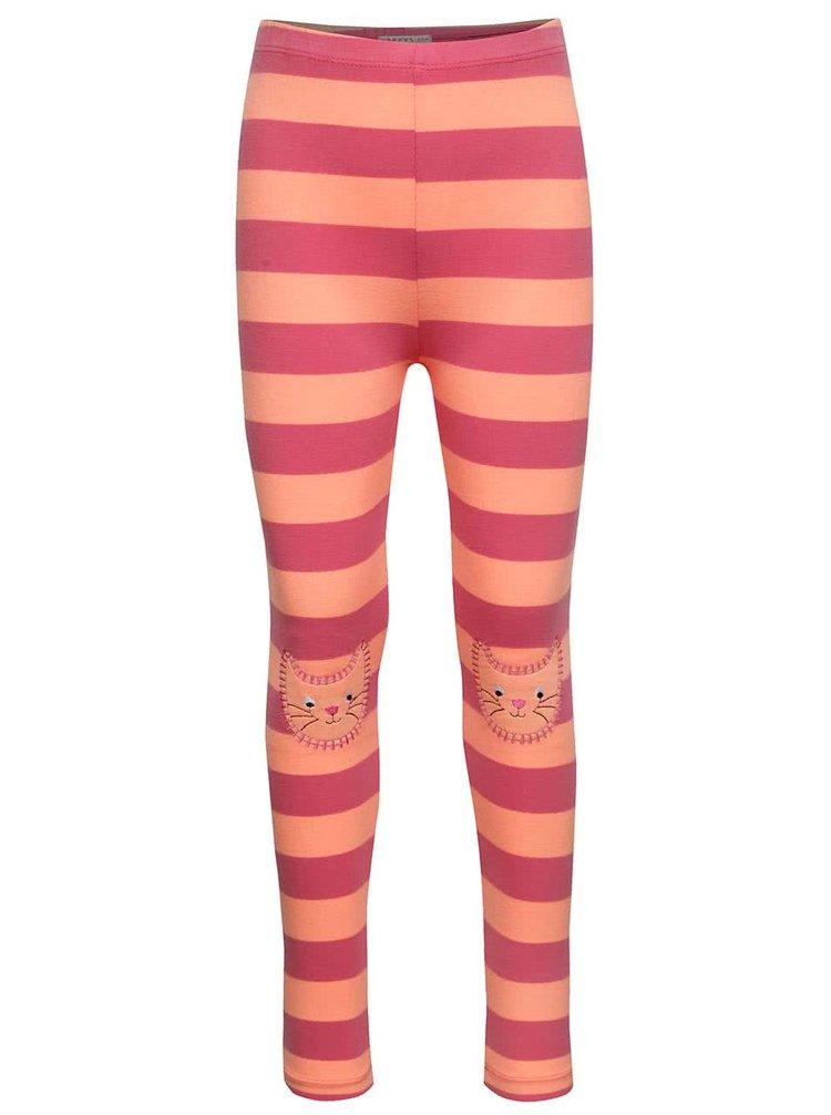 Oranžovo-růžové pruhované holčičí legíny se záplatami na kolenou 5.10.15.