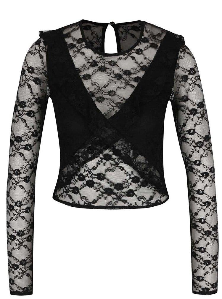 Bluză neagră Miss Selfridge din dantelă