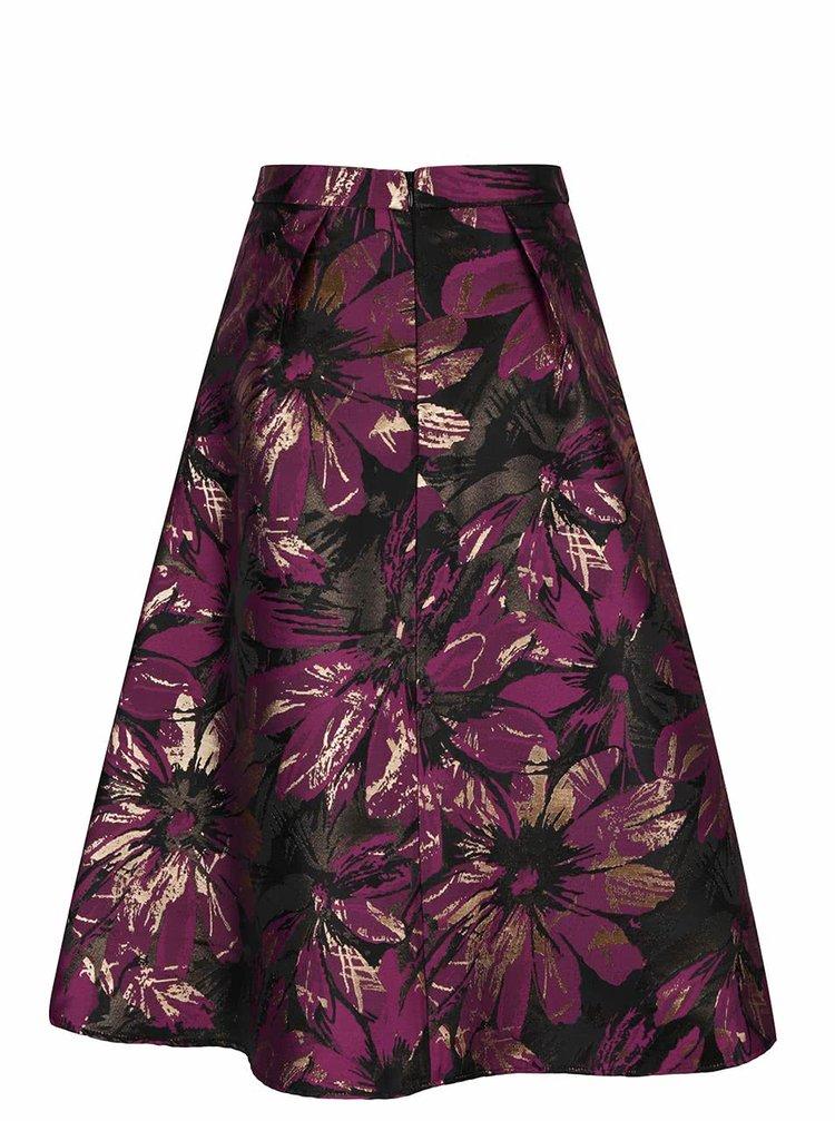 Fusta neagra cu imprimeu floral violet Miss Selfridge