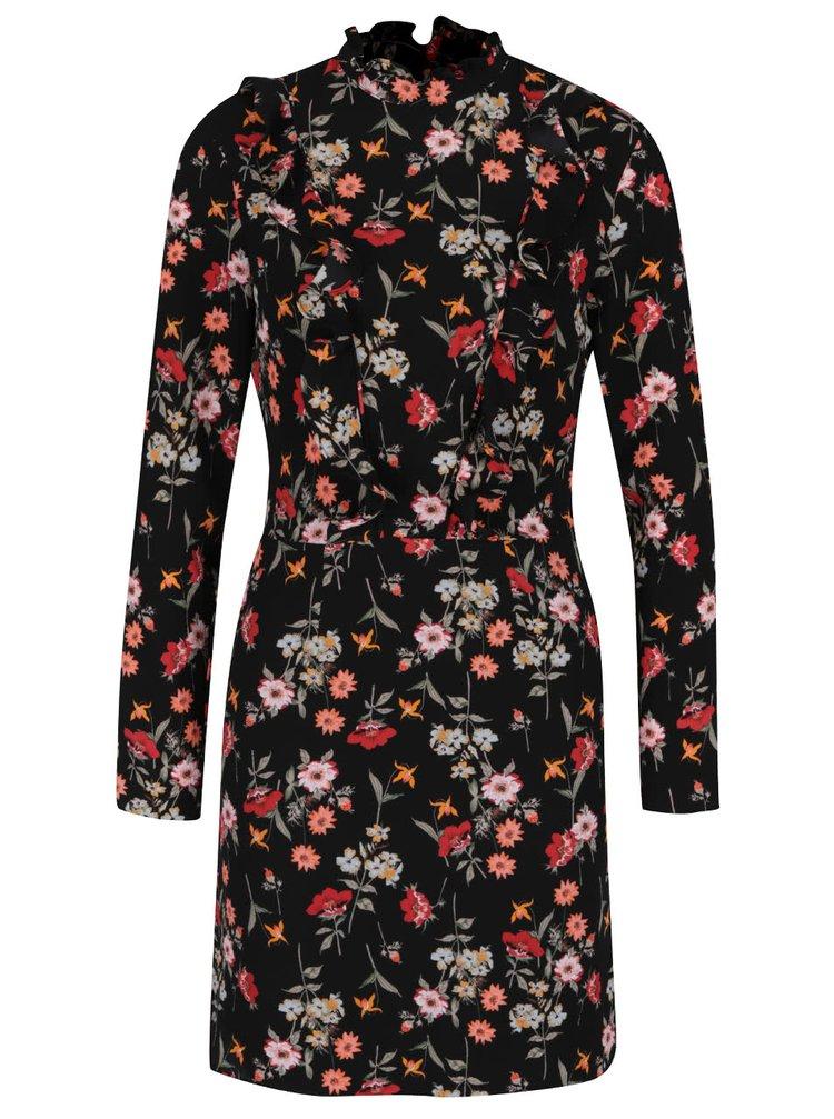 Černé květované krepové šaty s volánky Miss Selfridge