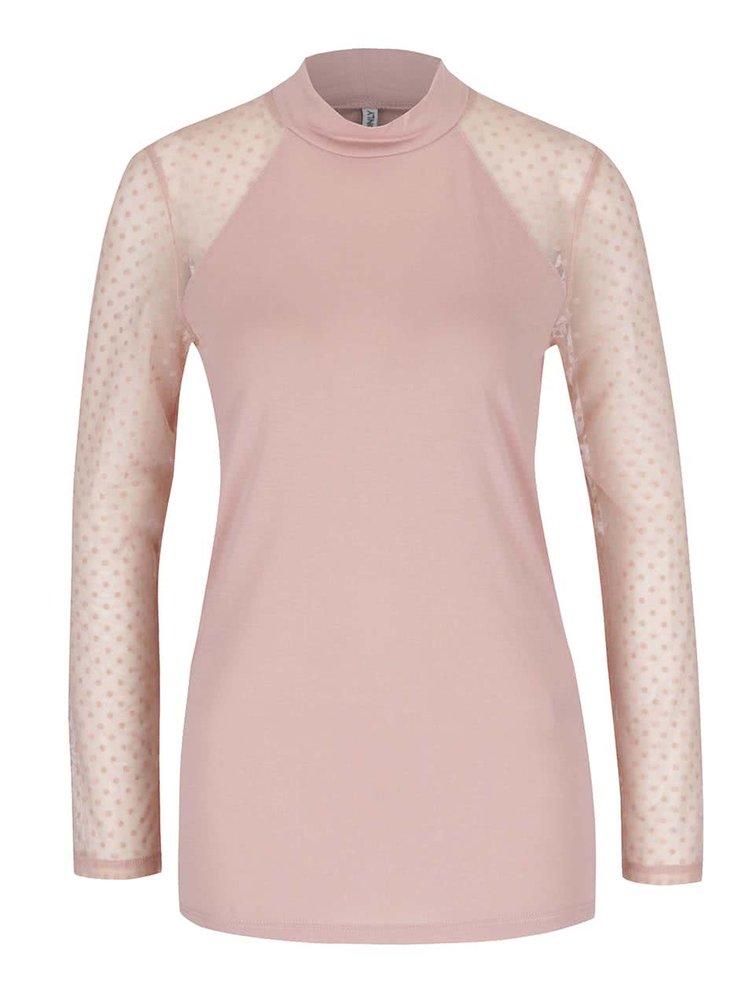 Ružové tričko s priesvitnými bodkovanými rukávmi ONLY Lulu