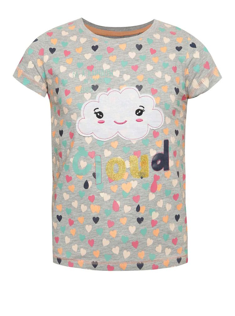 Šedé holčičí triko s barevnými srdíčky 5.10.15.