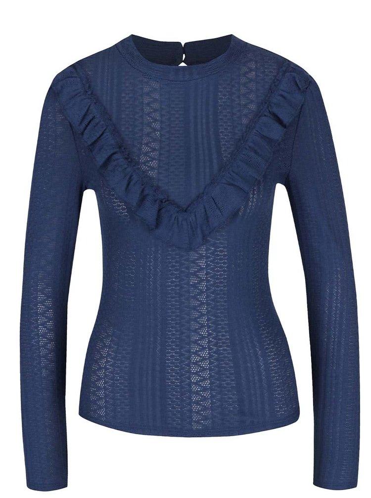 Modré tričko s volánky a dlouhými rukávy Miss Selfridge