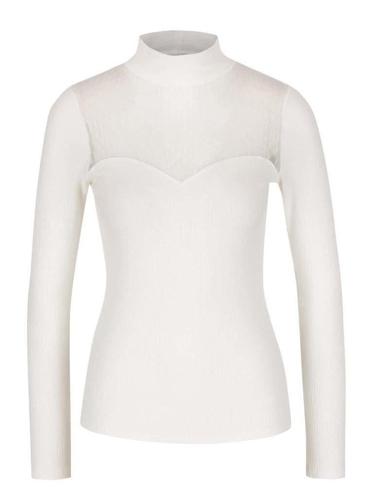 Krémové rebrované tričko s priesvitným dekoltom Miss Selfridge
