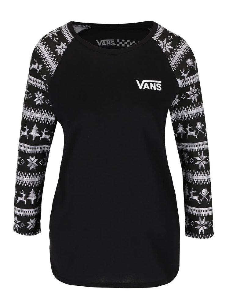 Černé dámské tričko se vzorovanými 3/4 rukávy Vans reindeer Raglan