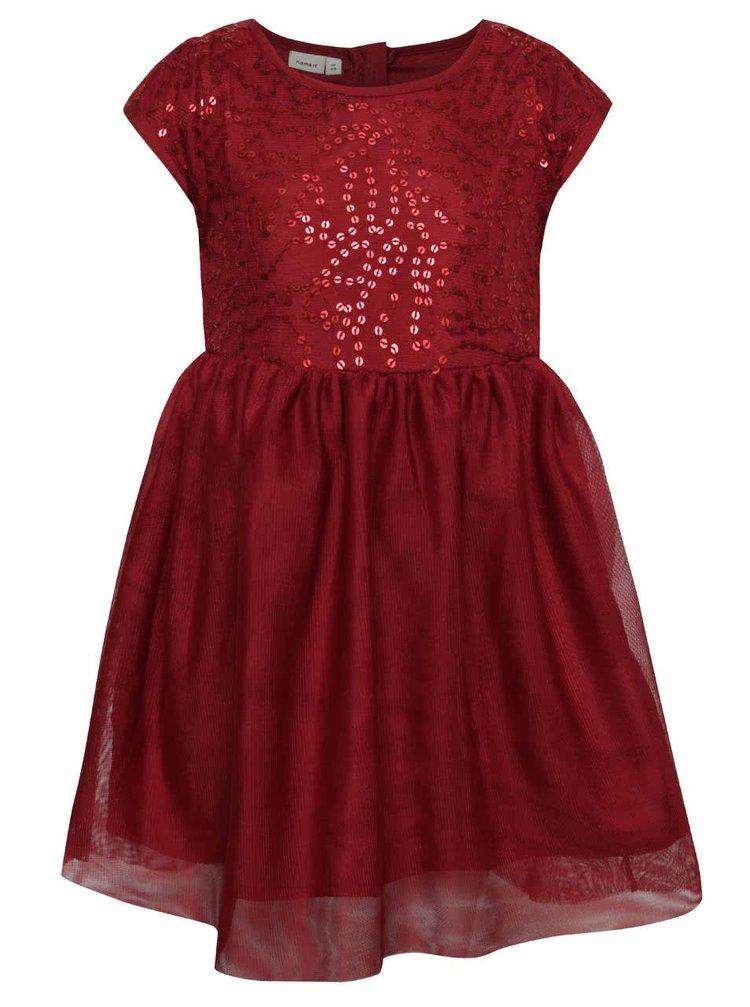 Vínové dievčenské šaty s flitrami name it Walliet