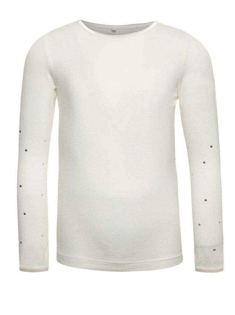 Krémové dievčenské tričko s dlhým rukávom name it Pelissimo