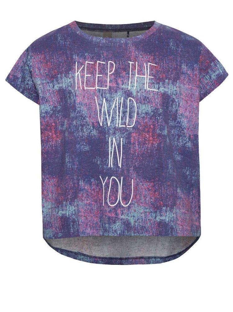 Růžovo-fialové žíhané holčičí tričko s potiskem 5.10.15.