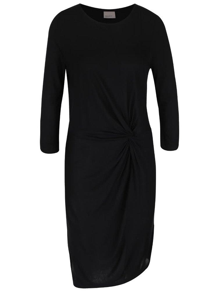 Černé šaty s nařasením a 3/4 rukávy VERO MODA Nula