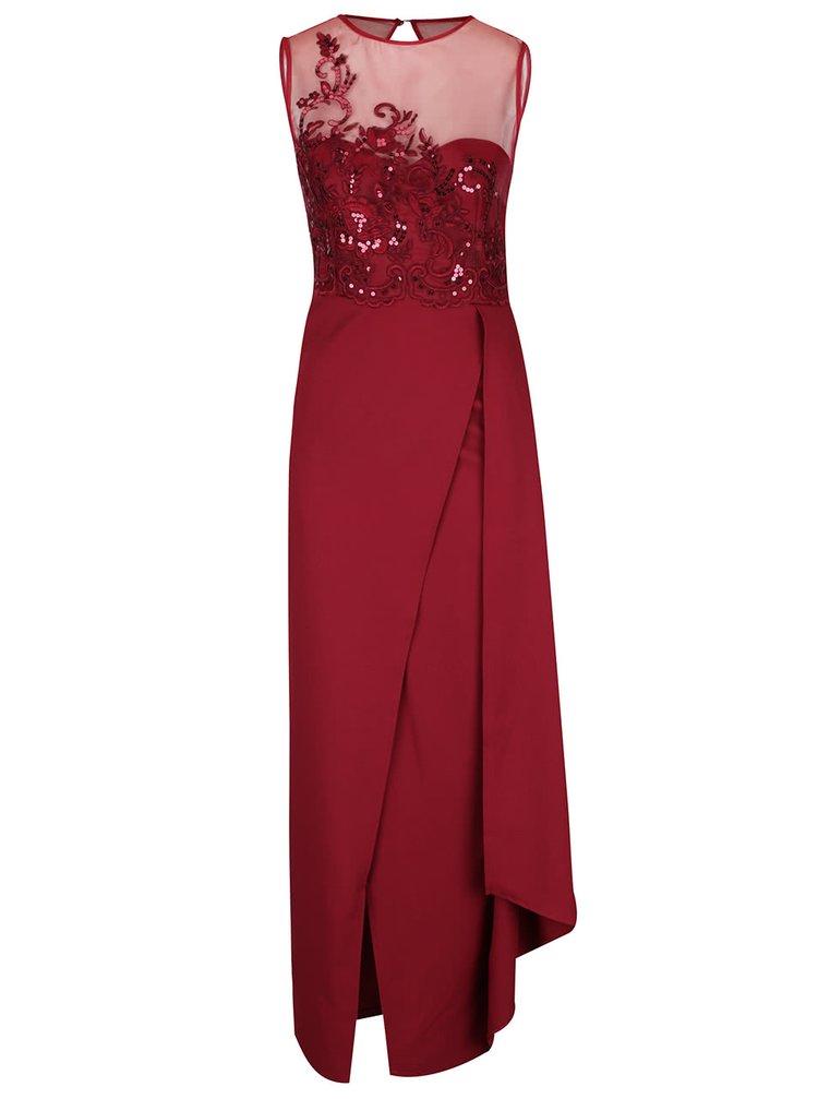 Rochie lungă roșie cu broderie florală Little Mistress