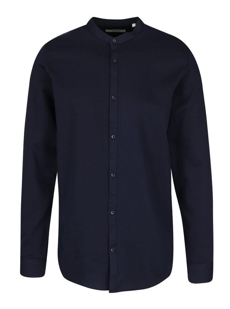 Tmavě modrá košile bez límečku Jack & Jones Toby