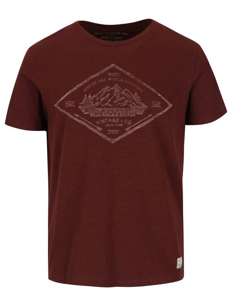 Hnědé žíhané triko s potiskem Jack & Jones Abel