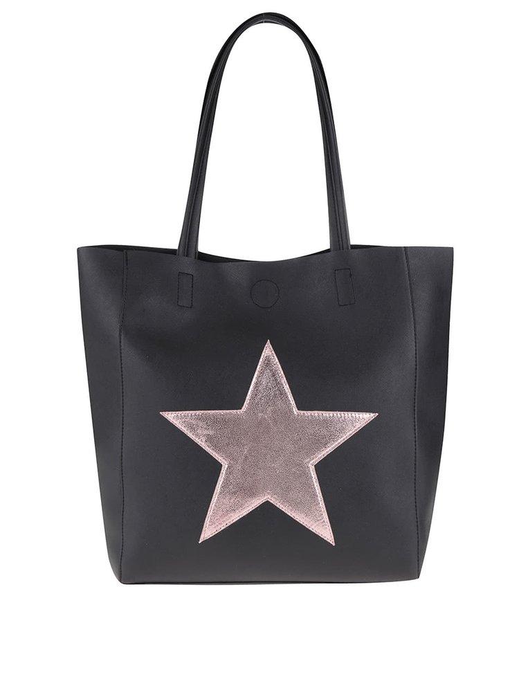 Čierny shopper s nášivkou v ružovej farbe Haily´s Stellina
