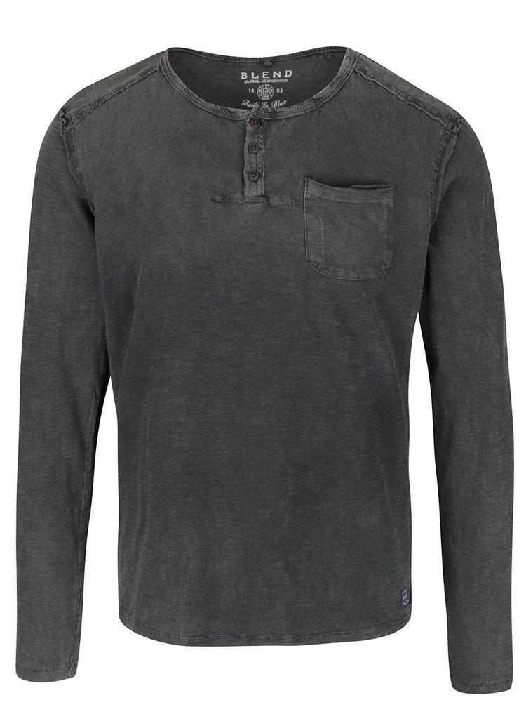 Zelenošedé triko s dlouhým rukávem a kapsou Blend