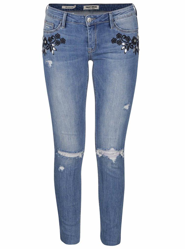 Modré zkrácené skinny džíny s potrhaným efektem a výšivkou TALLY WEiJL