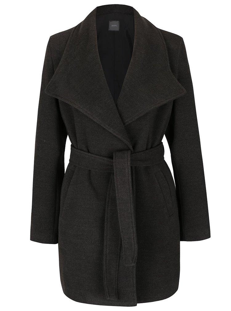Tmavě šedý kabát se zavazováním v pase ZOOT