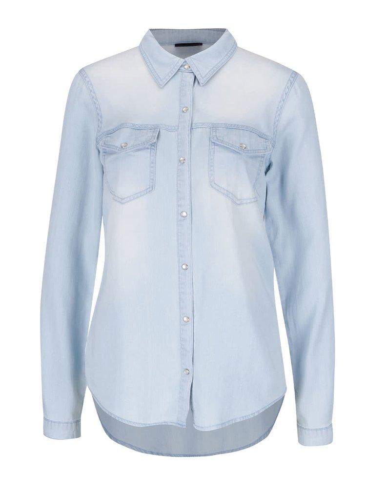 Světle modrá džínová košile s dlouhým rukávem VILA Bista