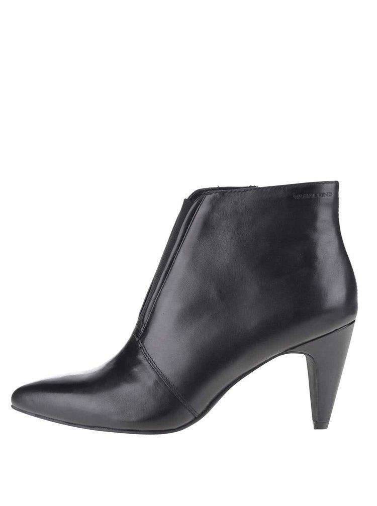 Černé kožené boty na podpatku Vagabond Esther
