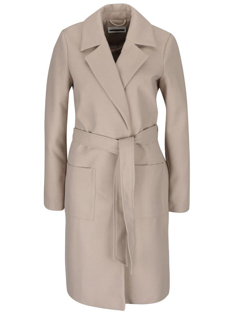 Béžový kabát se zavazováním v pase Noisy May Nine