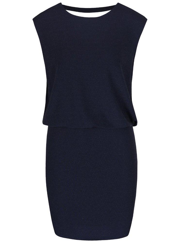 Tmavě modré šaty s výstřihem na zádech VERO MODA Dalyn
