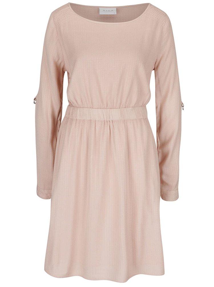 Růžové šaty s jemným vzorem VILA Syrma