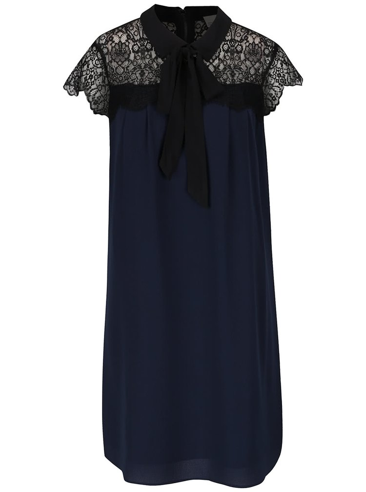 Černo-modré šaty s krajkovým dekoltem a vázankou VERO MODA Marie