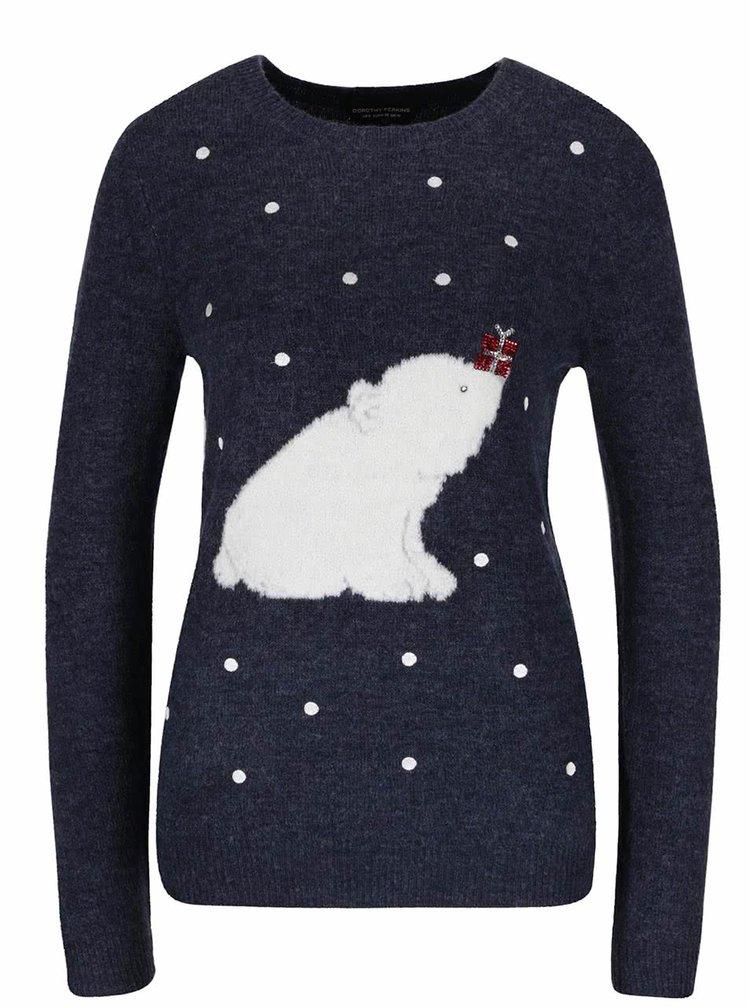 Tmavě modrý svetr s motivem ledního medvěda Dorothy Perkins