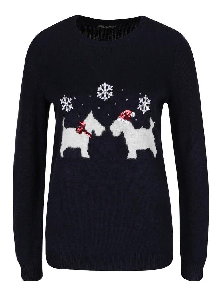 Tmavě modrý svetr s vánočním motivem Dorothy Perkins