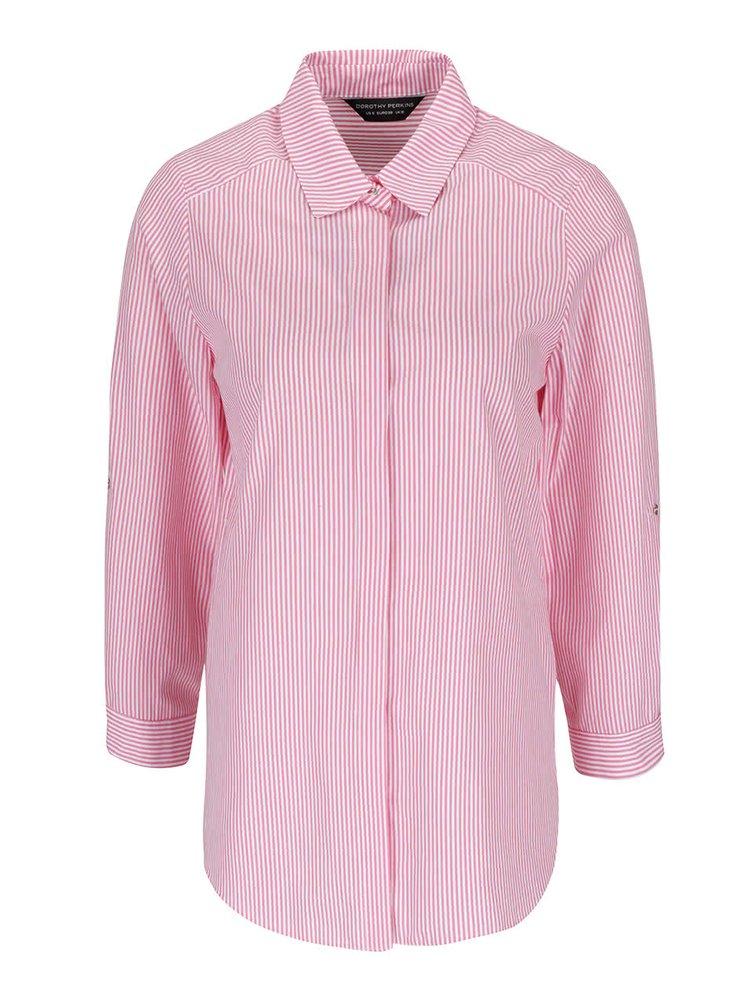 Cămașă roz cu alb Dorothy Perkins cu dungi verticale
