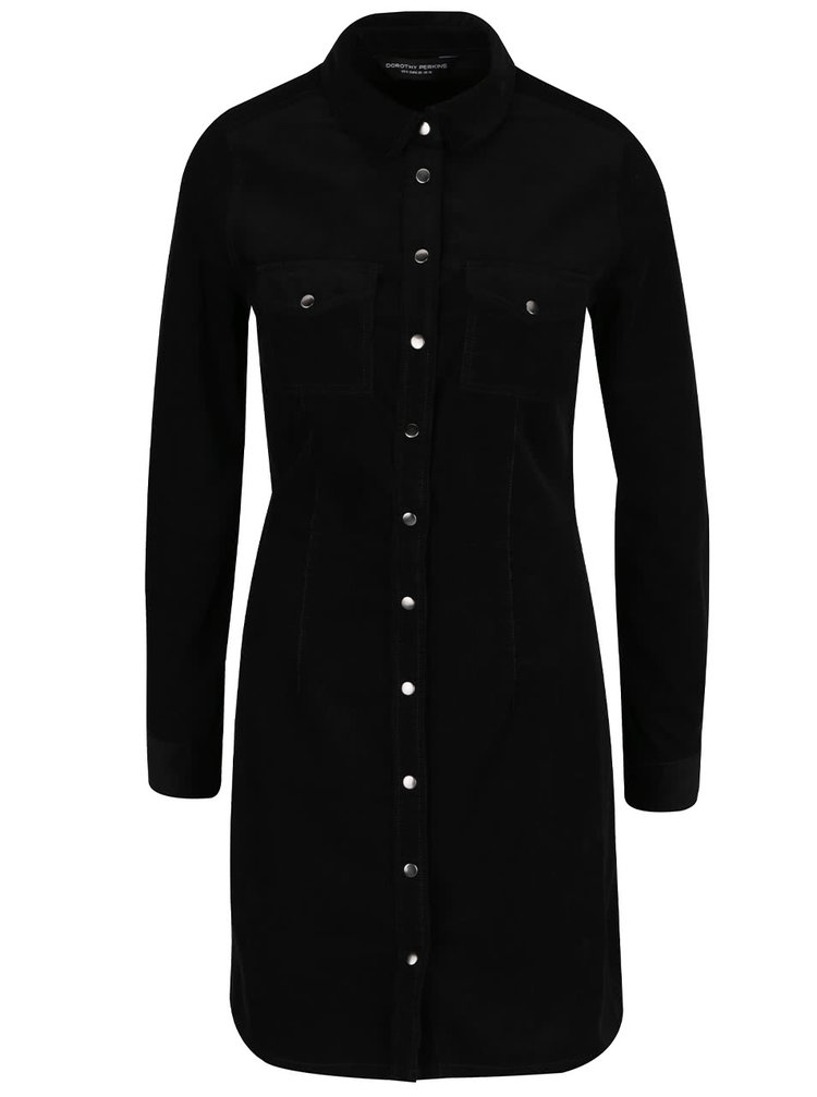 Černé manšestrové propínací šaty na patenty Dorothy Perkins