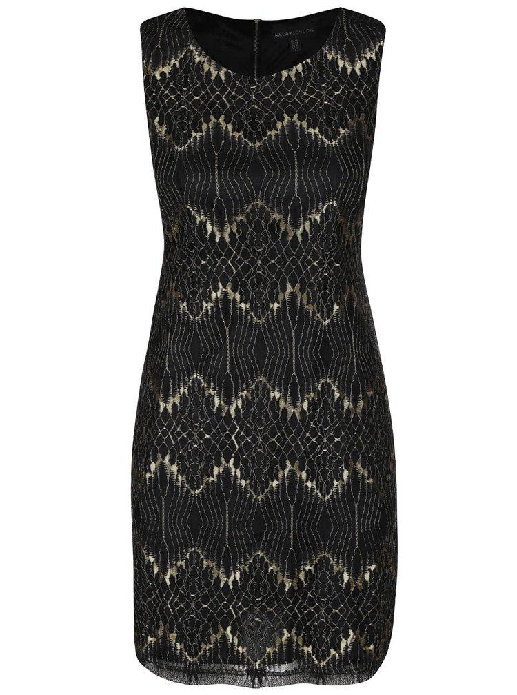 Rochie negru cu auriu din dantelă Mela London