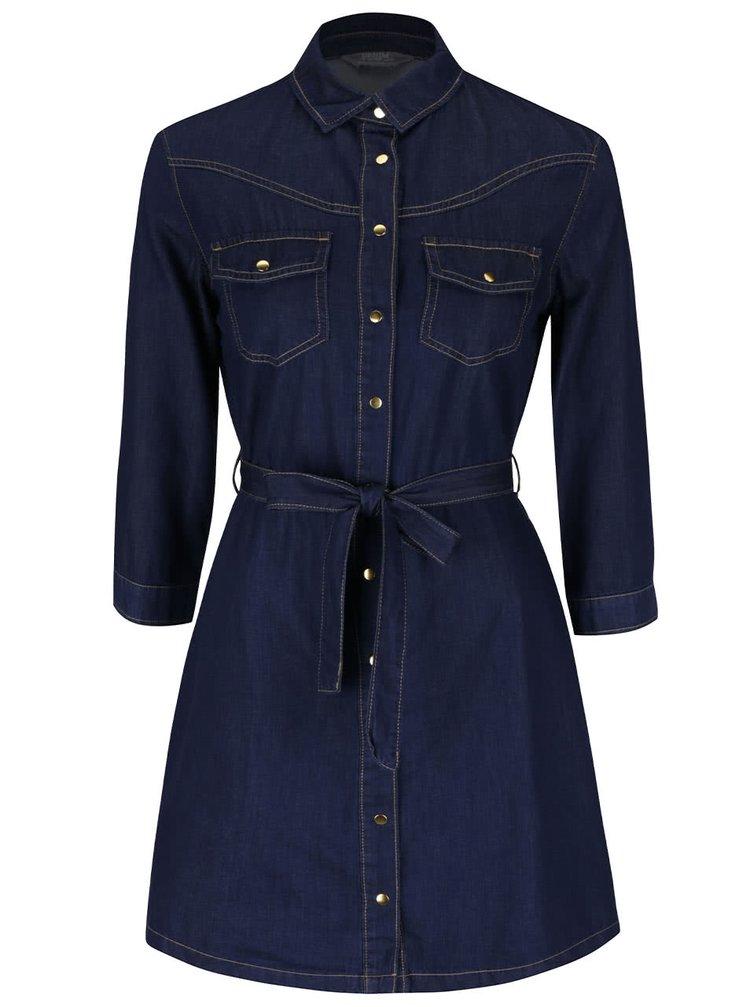 Tmavě modré denimové šaty s 3/4 rukávy Dorothy Perkins