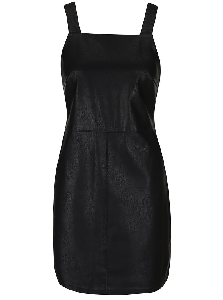 Černé koženkové šaty s laclem Dorothy Perkins