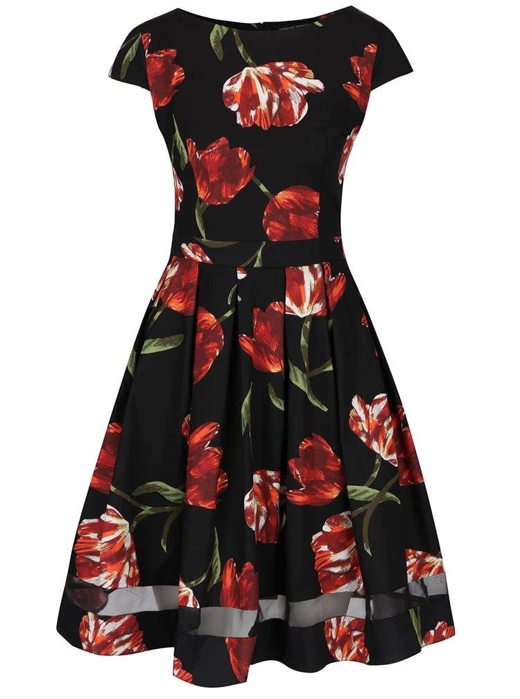 Čierne šaty s potlačou tulipánov Dorothy Perkins