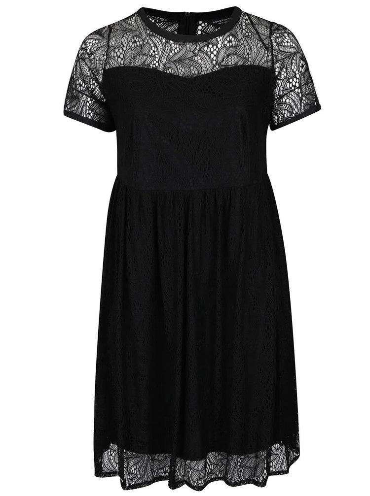 Černé krajkové šaty s krátkými rukávy Dorothy Perkins Curve