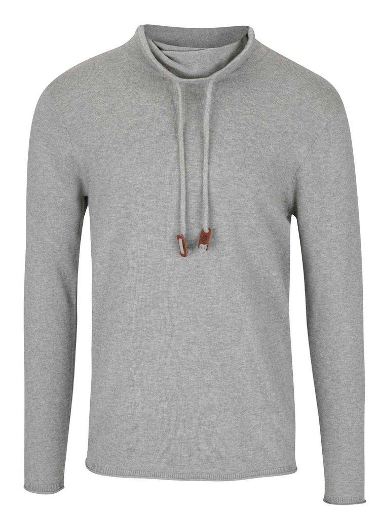 Šedý lehký svetr s límcem Blend