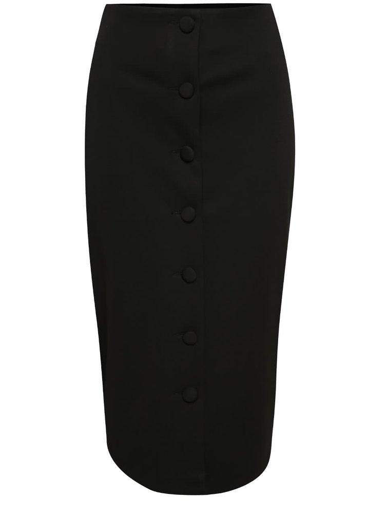 Černá pouzdrová midi sukně s knoflíky Dorothy Perkins