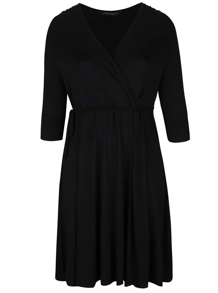 Čierne šaty s 3/4 rukávmi a prekladaným dekoltom Dorothy Perkins Curve
