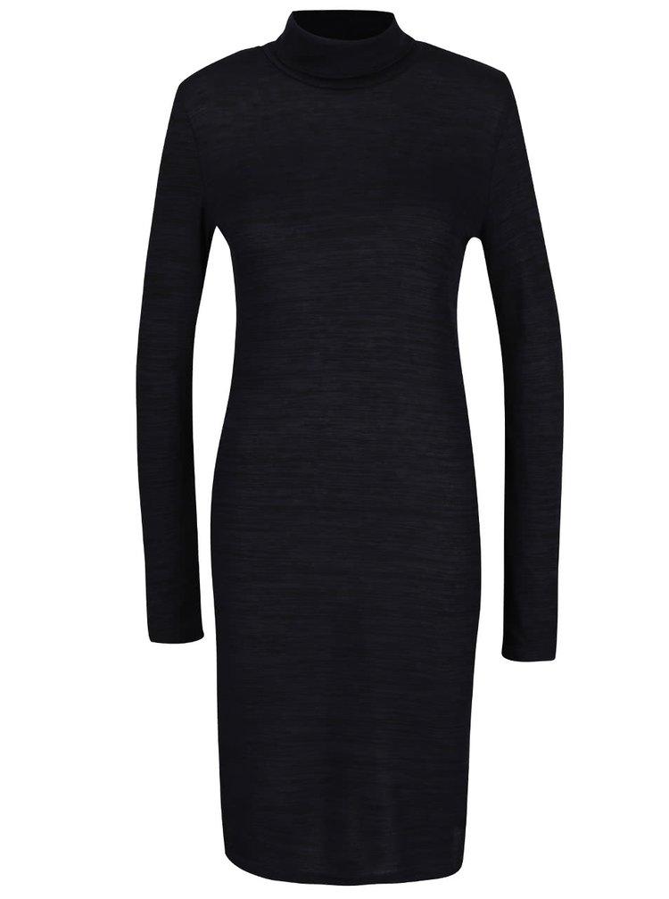 Modro-černé žíhané šaty s rolákem ONLY Emilie
