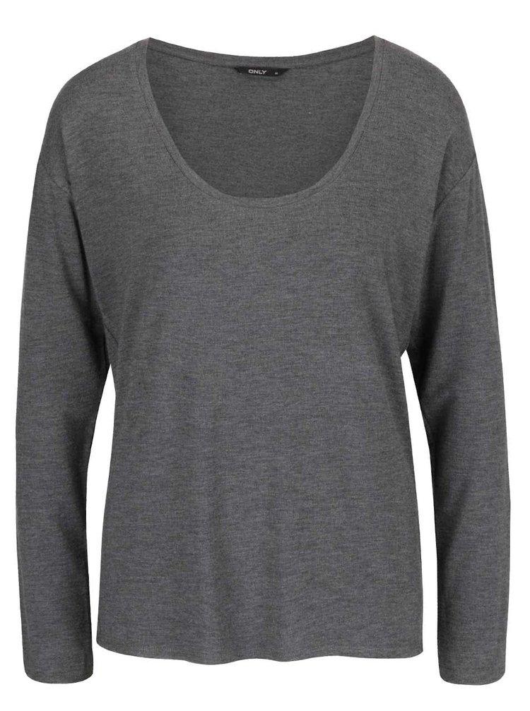 Tmavě šedé tričko s dlouhým rukávem ONLY Sannie