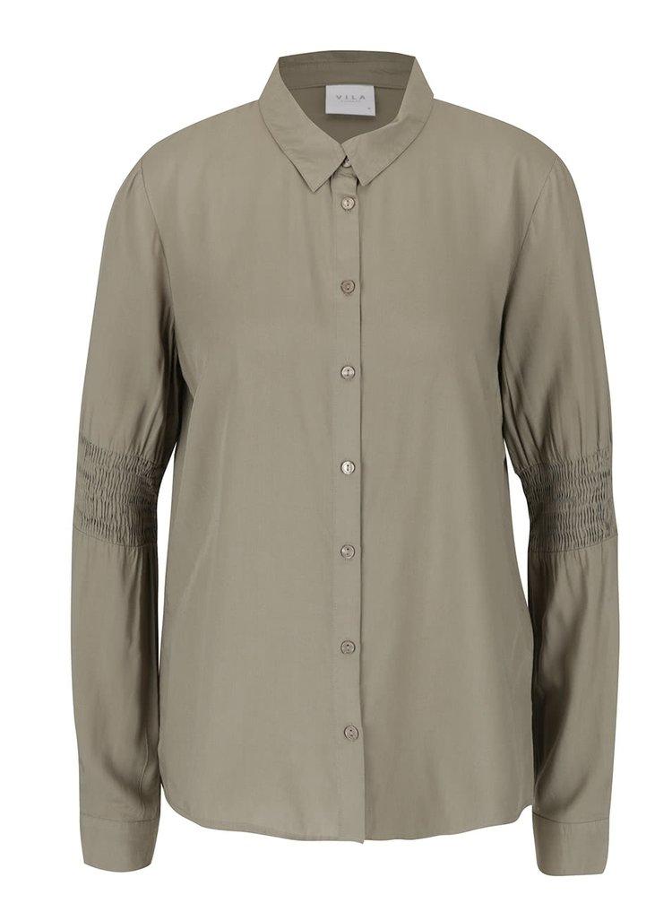 Khaki košile s detaily na rukávech VILA Smil