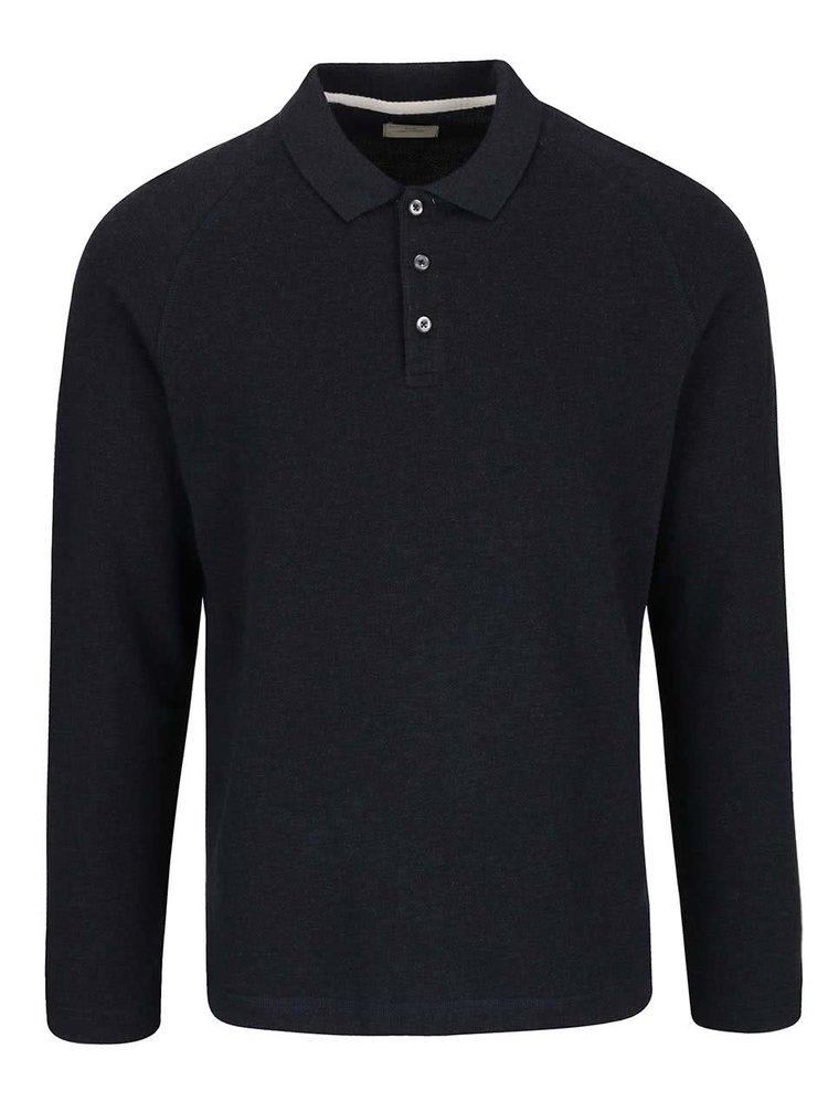 Tmavě modré triko s dlouhým rukávem a límečkem Selected Homme Casual