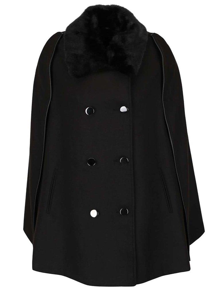 Černý kabát s límcem z umělého kožíšku Dorothy Perkins
