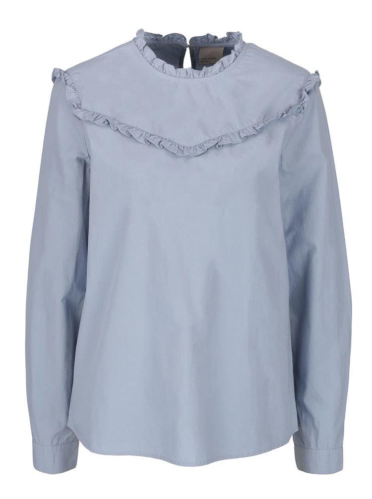 Bluză albastru deschis VERO MODA June cu volănașe