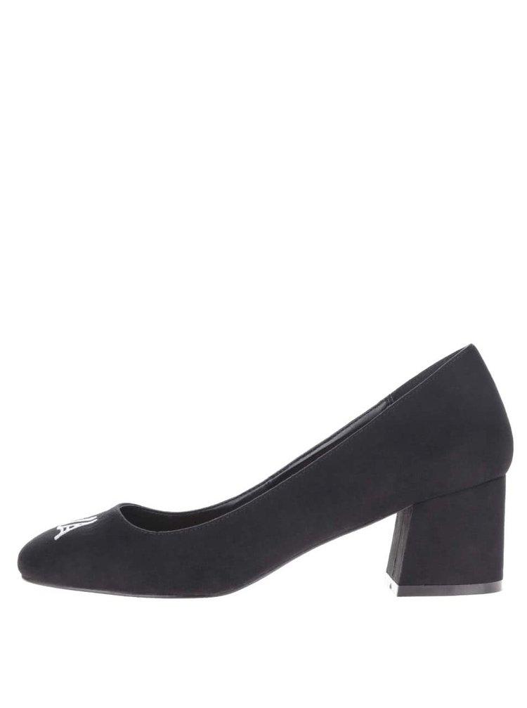 Pantofi negri Miss Selfridge cu broderie