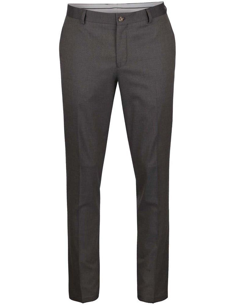 Šedohnědé formální kalhoty Selected Homme Skinny Mathsaul