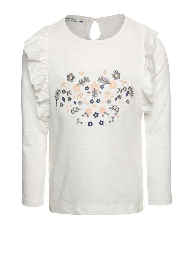 Krémové holčičí tričko s výšivkou květin 5.10.15.